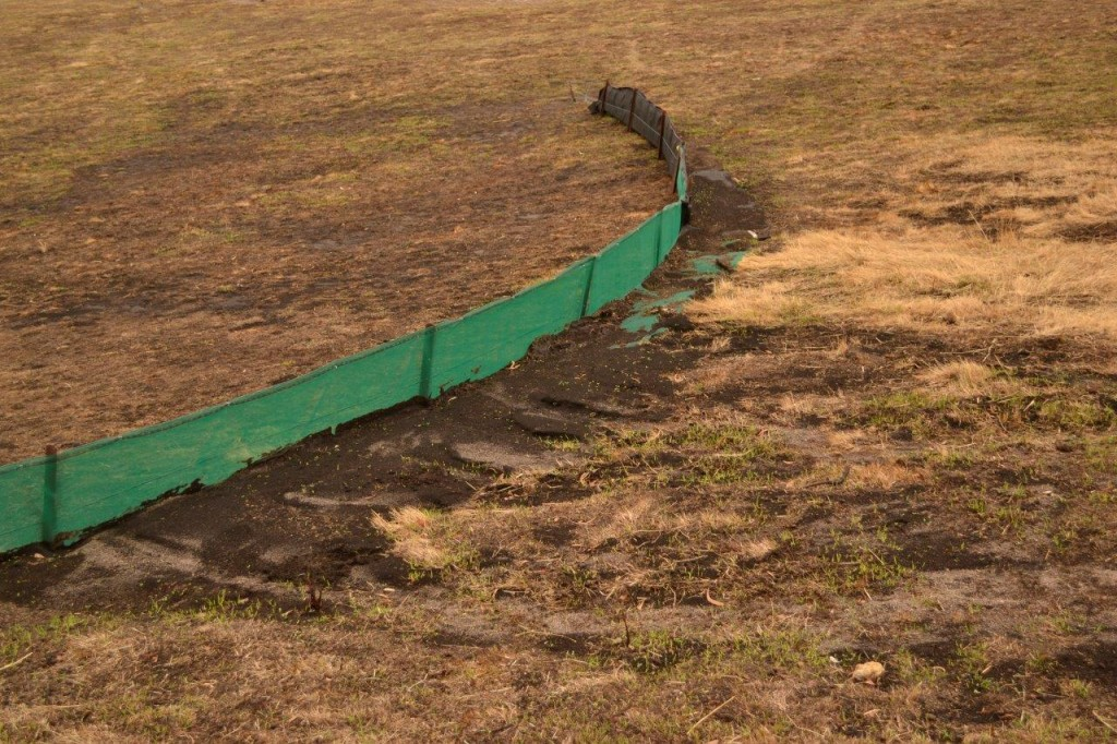 An effective Sediment Fence after recent rains in the fire affected area