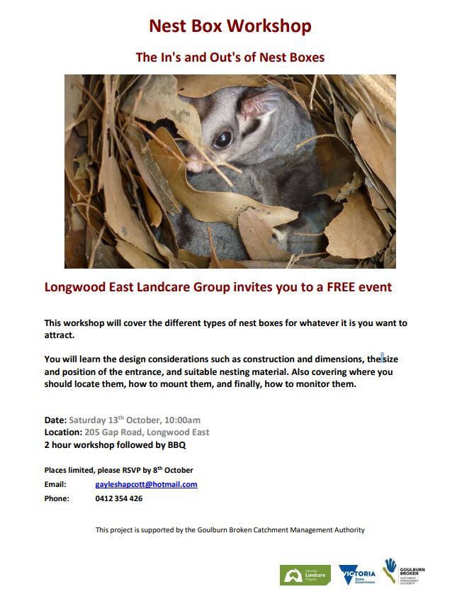 Longwood East Landcare Group invites you to a free Nest Box workshop